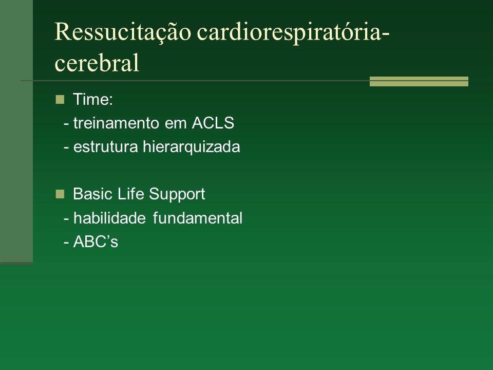 Ressucitação cardiorespiratória- cerebral Time: - treinamento em ACLS - estrutura hierarquizada Basic Life Support - habilidade fundamental - ABCs