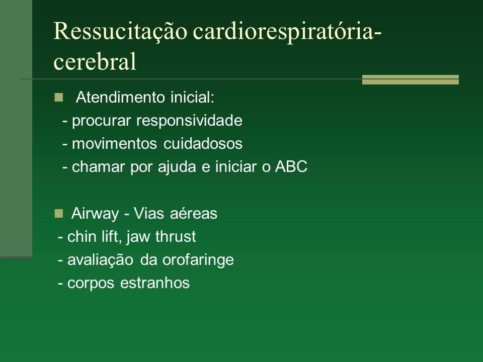 Ressucitação cardiorespiratória- cerebral Breathing - mantida até via aérea definitiva - IOT - FiO2 máxima Circulation - avaliar estado hemodinâmico - a.