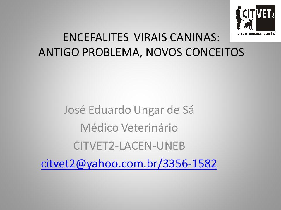 ENCEFALITES VIRAIS CANINAS: ANTIGO PROBLEMA, NOVOS CONCEITOS José Eduardo Ungar de Sá Médico Veterinário CITVET2-LACEN-UNEB citvet2@yahoo.com.br/3356-1582