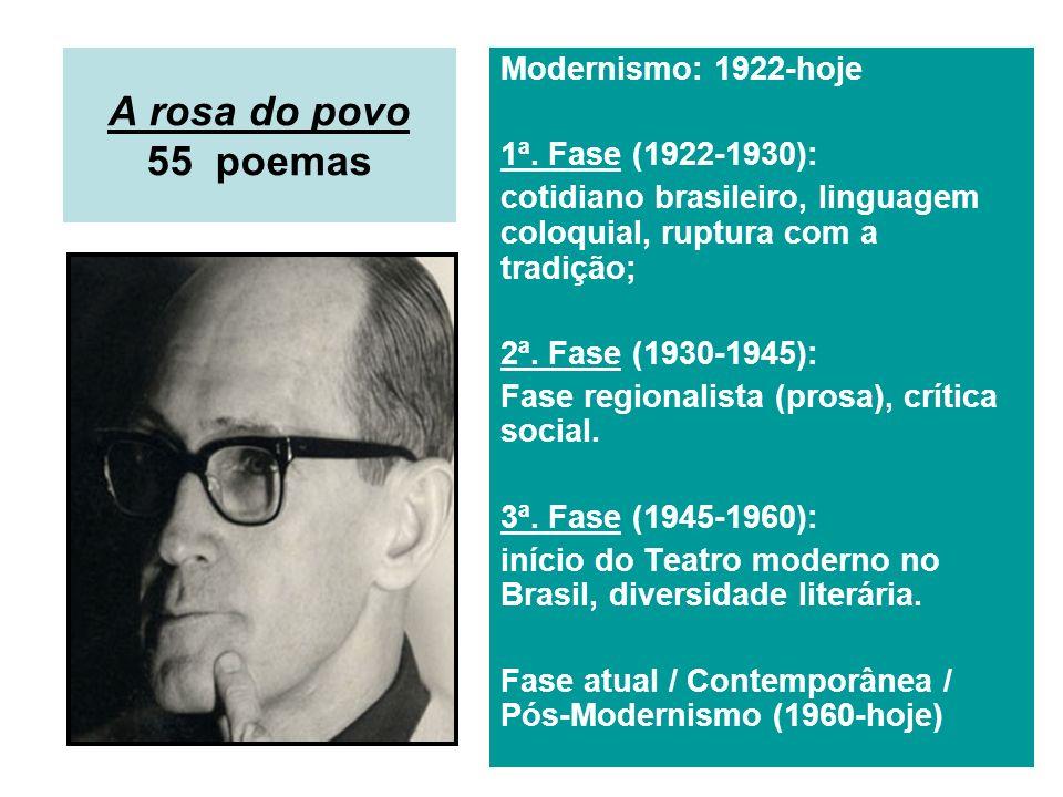 A rosa do povo 55 poemas Modernismo: 1922-hoje 1ª. Fase (1922-1930): cotidiano brasileiro, linguagem coloquial, ruptura com a tradição; 2ª. Fase (1930