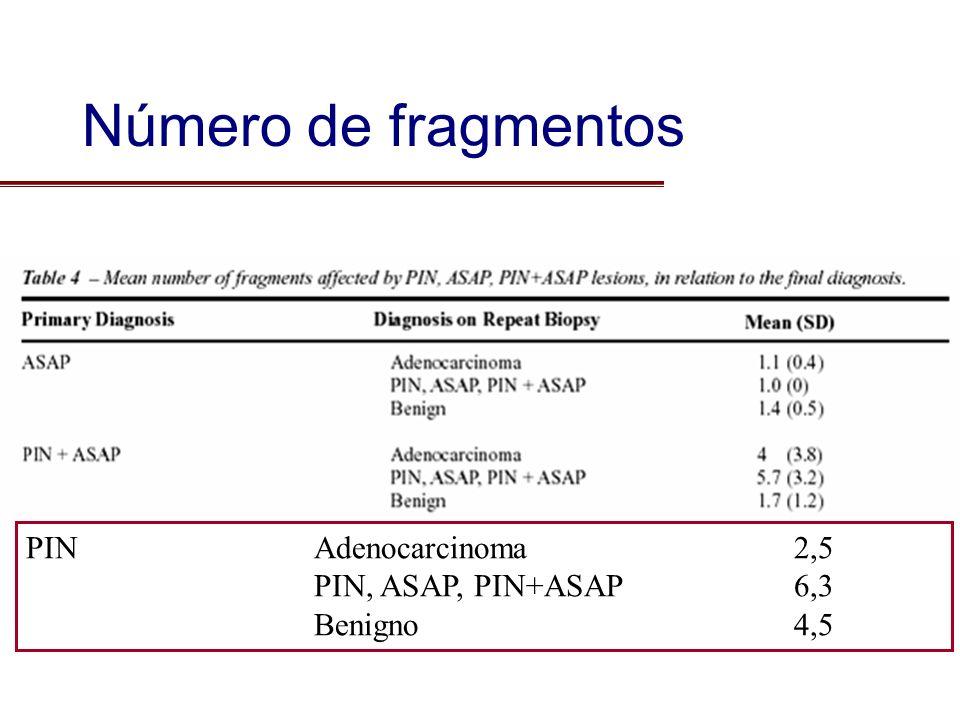Número de fragmentos PINAdenocarcinoma2,5 PIN, ASAP, PIN+ASAP6,3 Benigno4,5