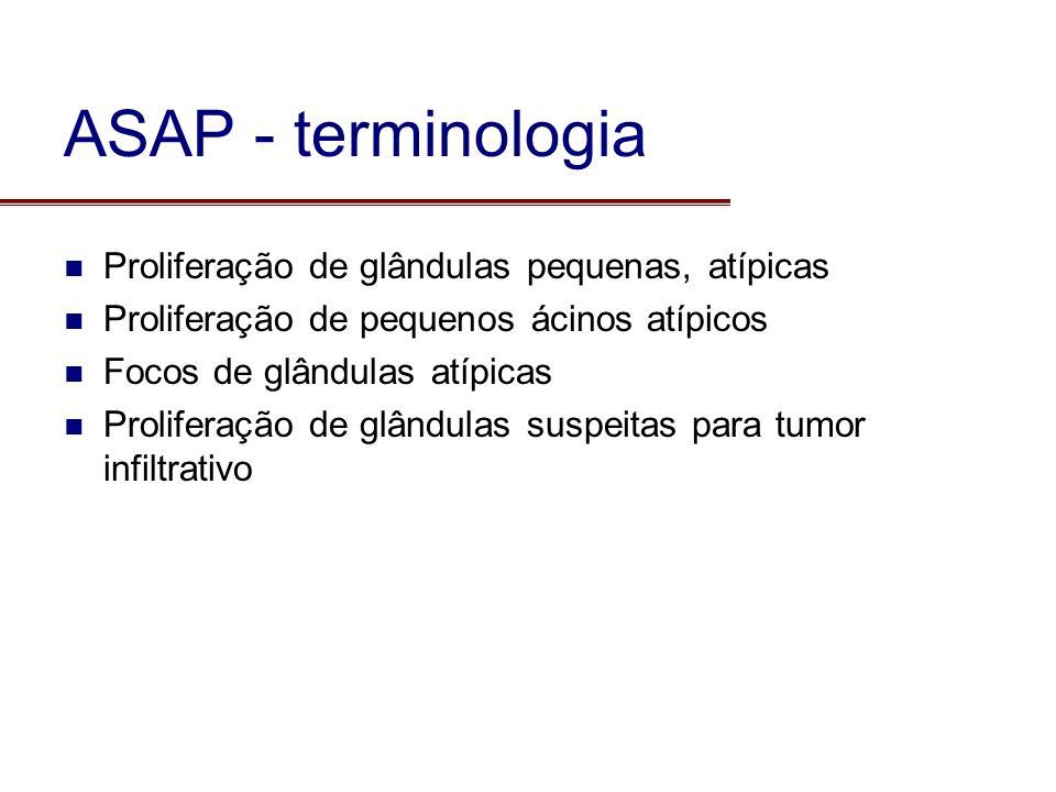 Proliferação de glândulas pequenas, atípicas Proliferação de pequenos ácinos atípicos Focos de glândulas atípicas Proliferação de glândulas suspeitas