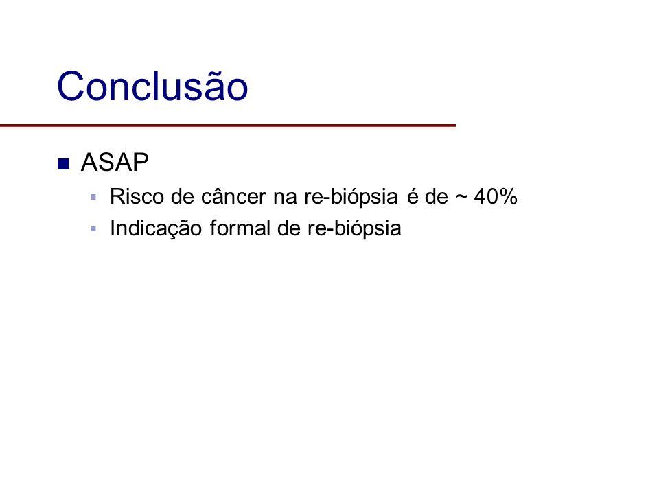 Conclusão ASAP Risco de câncer na re-biópsia é de ~ 40% Indicação formal de re-biópsia