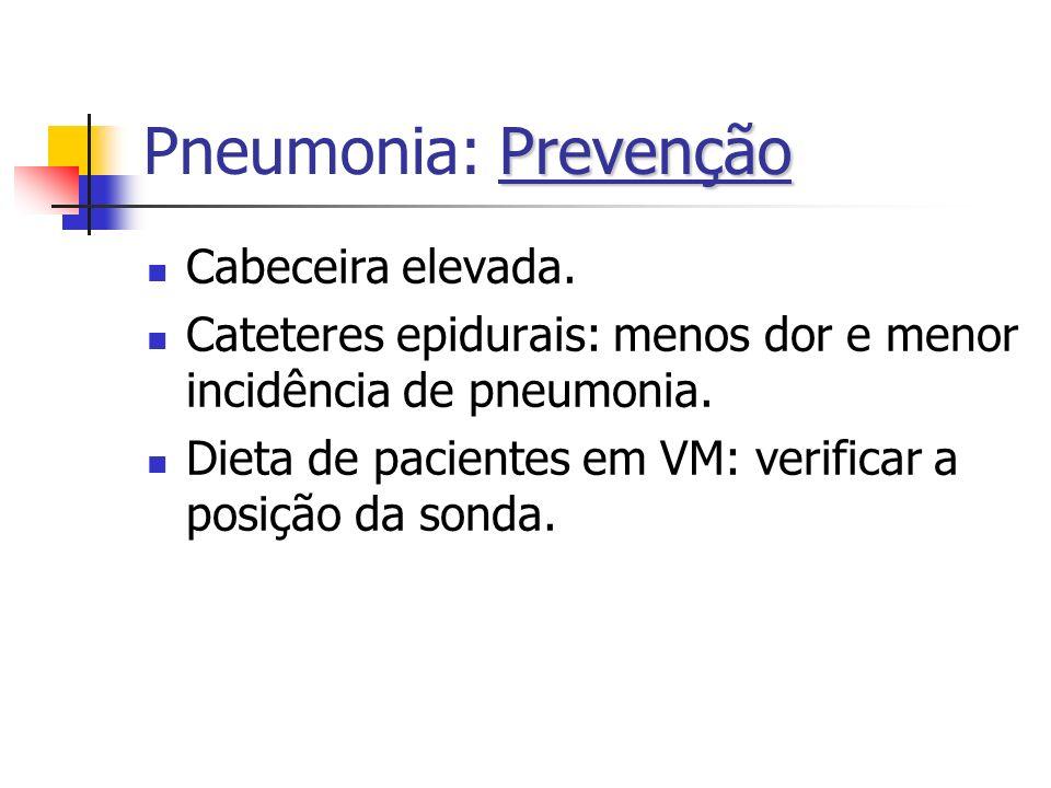 Prevenção Pneumonia: Prevenção Cabeceira elevada. Cateteres epidurais: menos dor e menor incidência de pneumonia. Dieta de pacientes em VM: verificar
