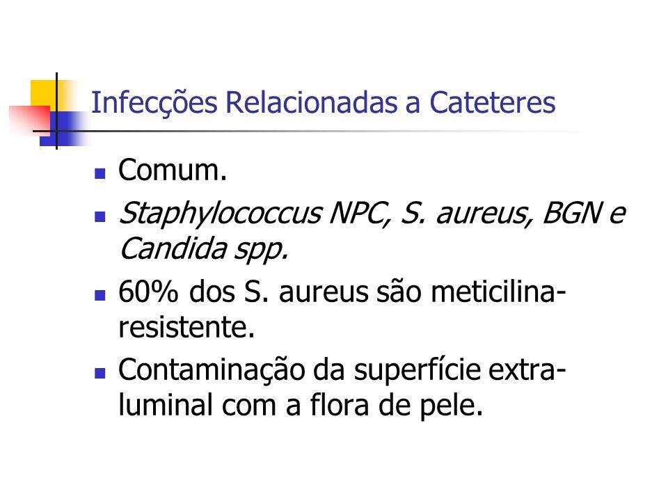 Infecções Relacionadas a Cateteres Comum. Staphylococcus NPC, S. aureus, BGN e Candida spp. 60% dos S. aureus são meticilina- resistente. Contaminação