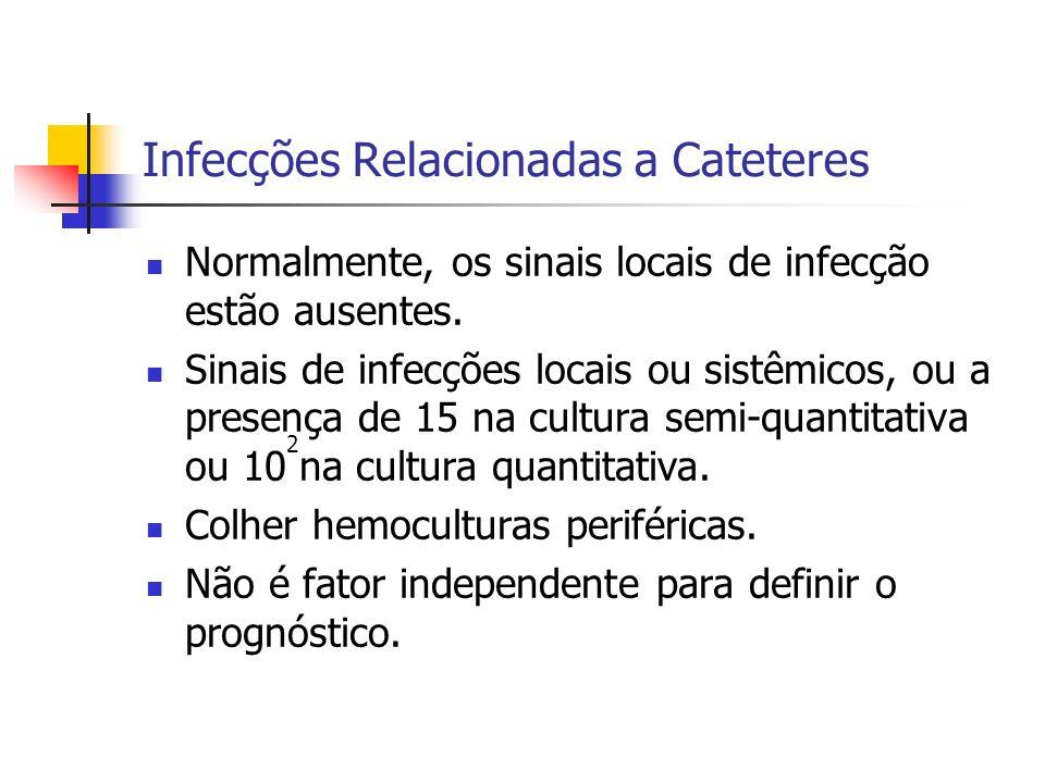 Infecções Relacionadas a Cateteres Normalmente, os sinais locais de infecção estão ausentes. Sinais de infecções locais ou sistêmicos, ou a presença d