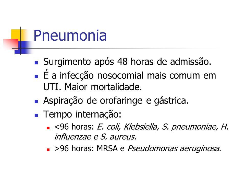 Pneumonia Surgimento após 48 horas de admissão. É a infecção nosocomial mais comum em UTI. Maior mortalidade. Aspiração de orofaringe e gástrica. Temp