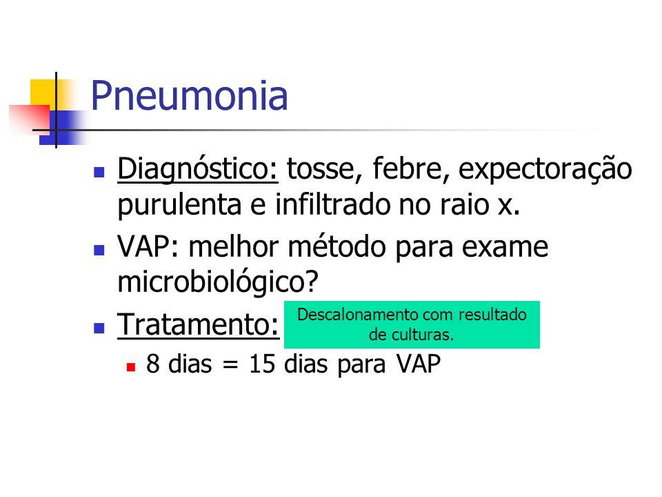 Diagnóstico: tosse, febre, expectoração purulenta e infiltrado no raio x. VAP: melhor método para exame microbiológico? Tratamento: amplo espectro. 8