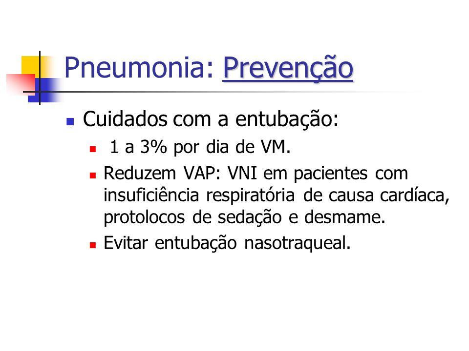 Prevenção Pneumonia: Prevenção Cuidados com a entubação: 1 a 3% por dia de VM. Reduzem VAP: VNI em pacientes com insuficiência respiratória de causa c