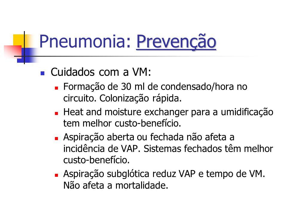 Prevenção Pneumonia: Prevenção Cuidados com a VM: Formação de 30 ml de condensado/hora no circuito. Colonização rápida. Heat and moisture exchanger pa