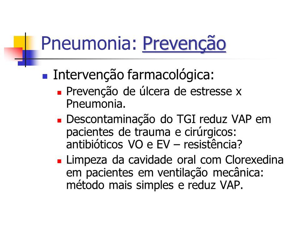 Prevenção Pneumonia: Prevenção Intervenção farmacológica: Prevenção de úlcera de estresse x Pneumonia. Descontaminação do TGI reduz VAP em pacientes d