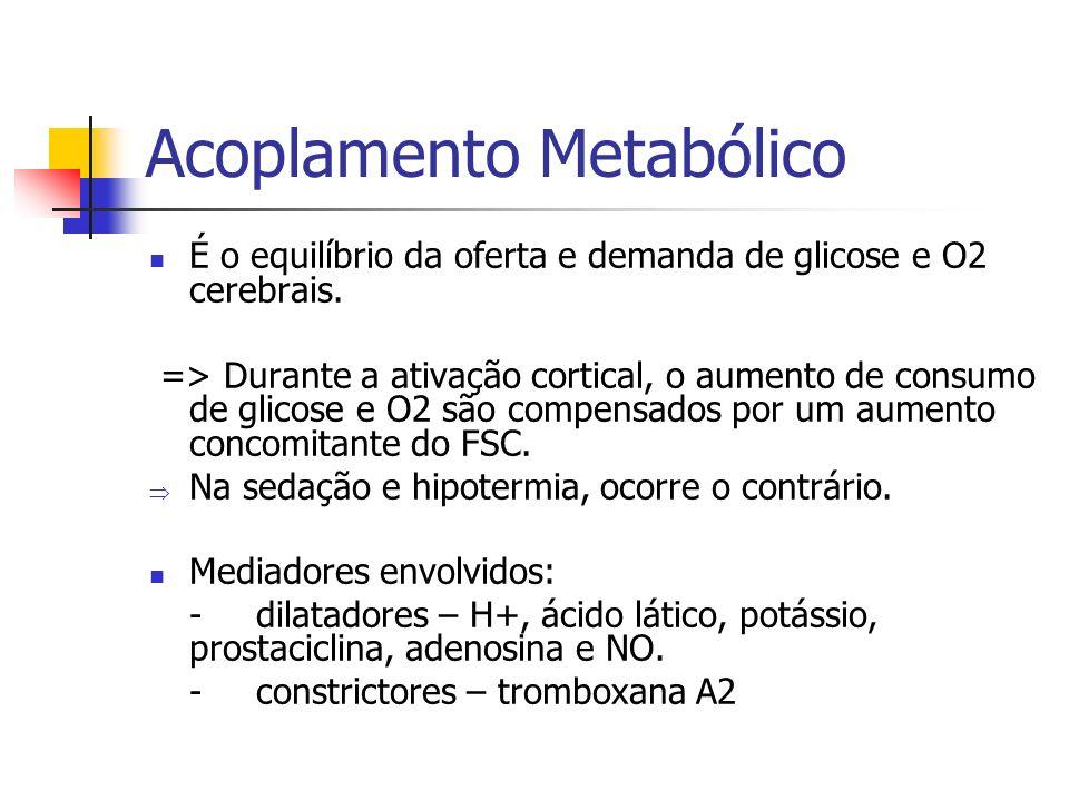 Acoplamento Metabólico É o equilíbrio da oferta e demanda de glicose e O2 cerebrais. => Durante a ativação cortical, o aumento de consumo de glicose e