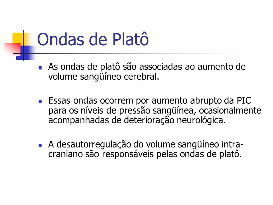 Ondas de Platô As ondas de platô são associadas ao aumento de volume sangüíneo cerebral. Essas ondas ocorrem por aumento abrupto da PIC para os níveis