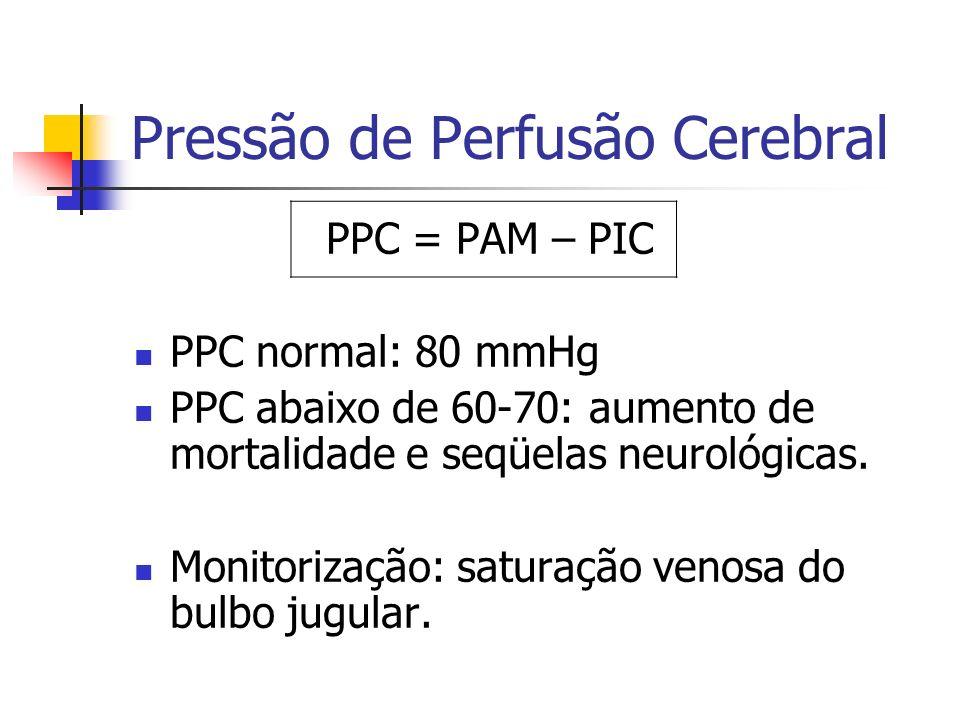 Pressão de Perfusão Cerebral PPC = PAM – PIC PPC normal: 80 mmHg PPC abaixo de 60-70: aumento de mortalidade e seqüelas neurológicas. Monitorização: s