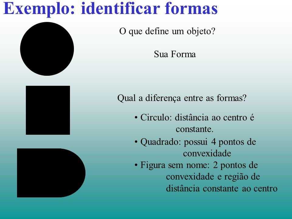 Como definir uma forma Um dos mais importantes parâmetros que podemos usar para caracterizar a forma é o contorno definido pela curvatura.