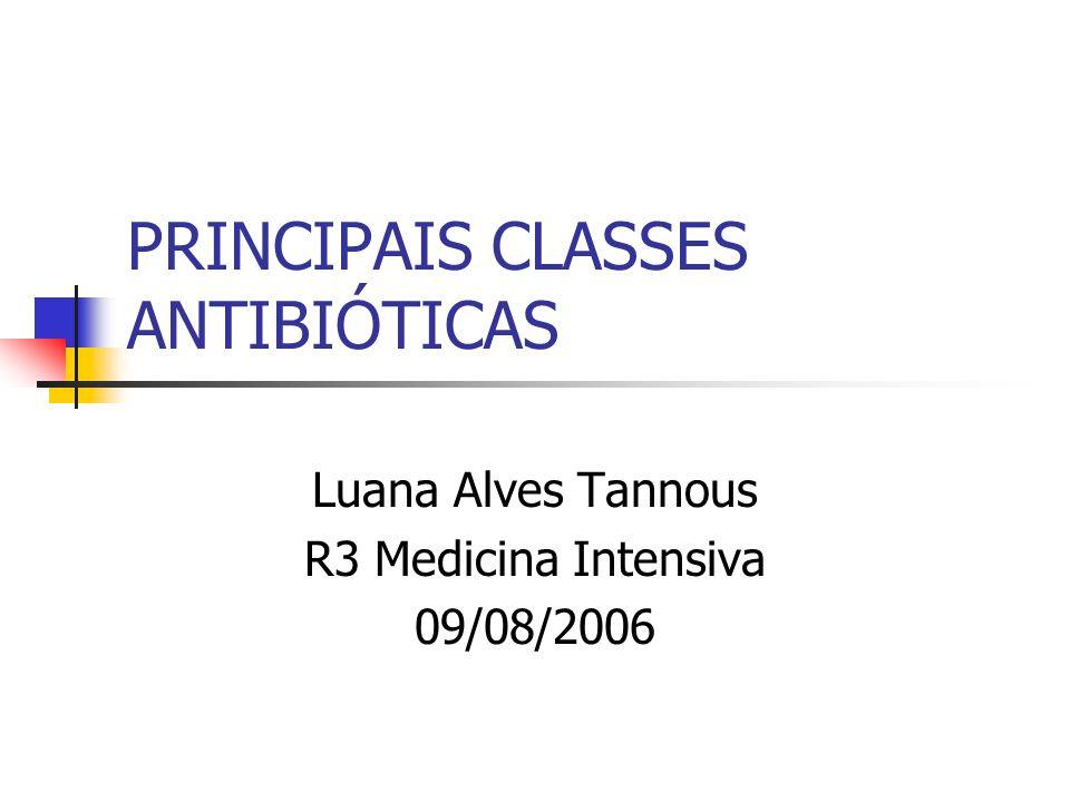 PRINCIPAIS CLASSES ANTIBIÓTICAS Luana Alves Tannous R3 Medicina Intensiva 09/08/2006