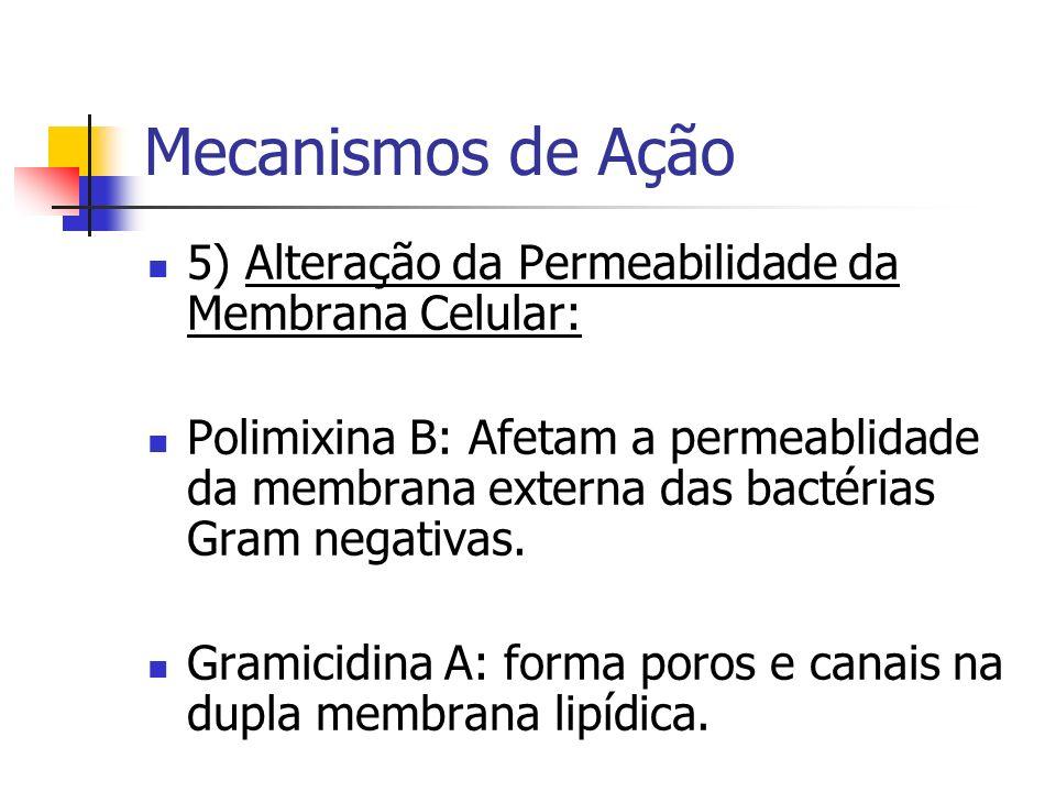 Mecanismos de Ação 5) Alteração da Permeabilidade da Membrana Celular: Polimixina B: Afetam a permeablidade da membrana externa das bactérias Gram neg