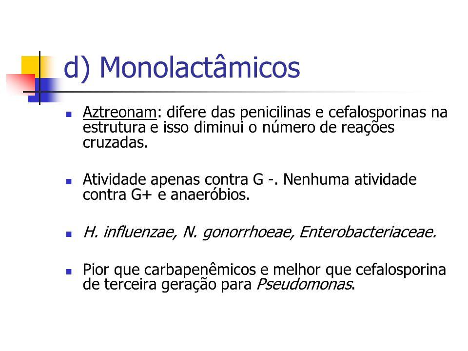 d) Monolactâmicos Aztreonam: difere das penicilinas e cefalosporinas na estrutura e isso diminui o número de reações cruzadas. Atividade apenas contra