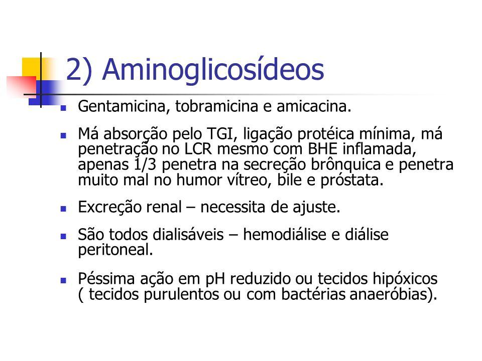2) Aminoglicosídeos Gentamicina, tobramicina e amicacina. Má absorção pelo TGI, ligação protéica mínima, má penetração no LCR mesmo com BHE inflamada,