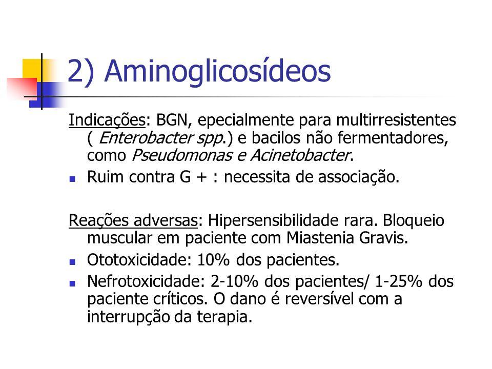 2) Aminoglicosídeos Indicações: BGN, epecialmente para multirresistentes ( Enterobacter spp.) e bacilos não fermentadores, como Pseudomonas e Acinetob