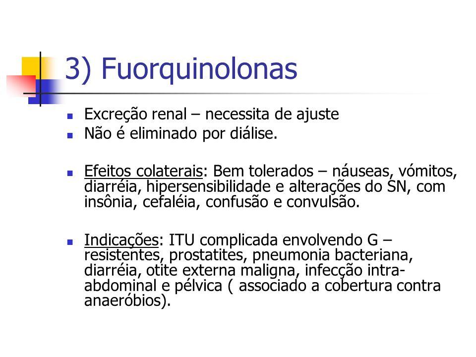 3) Fuorquinolonas Excreção renal – necessita de ajuste Não é eliminado por diálise. Efeitos colaterais: Bem tolerados – náuseas, vómitos, diarréia, hi