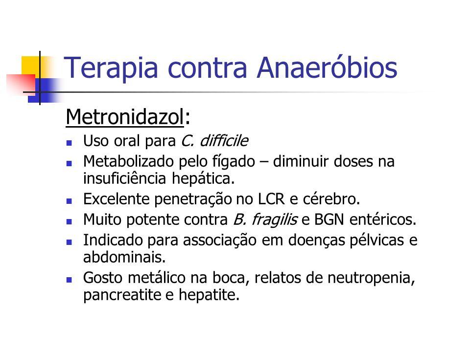 Terapia contra Anaeróbios Metronidazol: Uso oral para C. difficile Metabolizado pelo fígado – diminuir doses na insuficiência hepática. Excelente pene