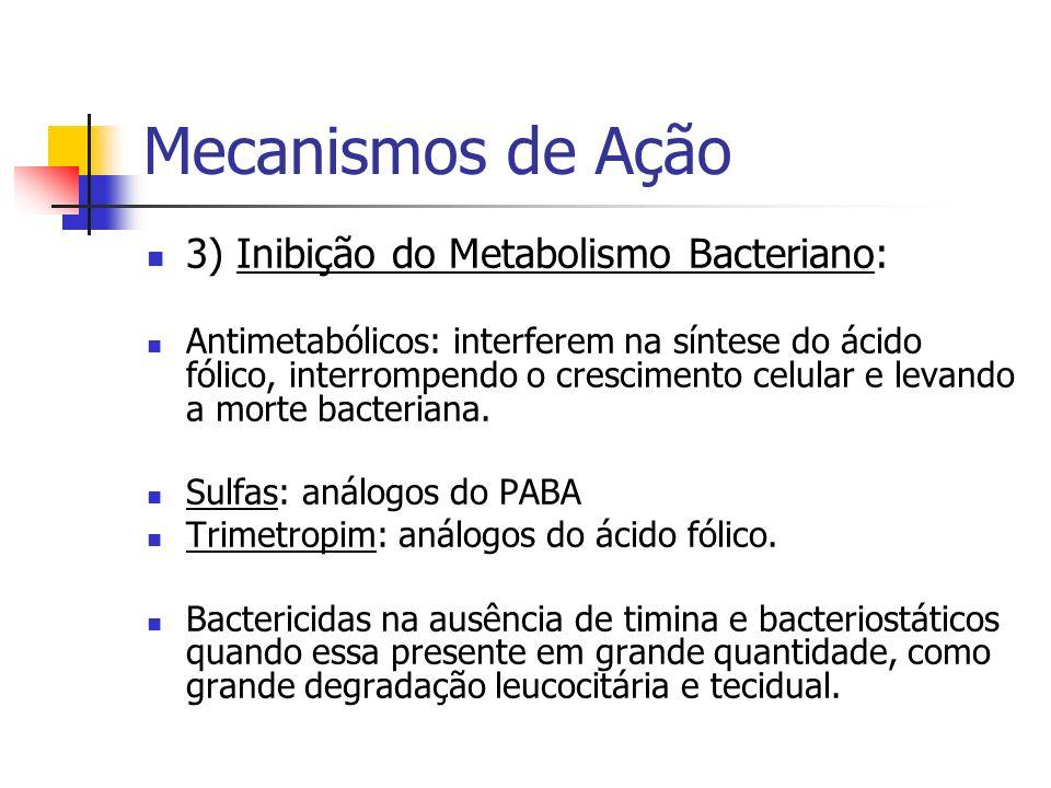 Mecanismos de Ação 3) Inibição do Metabolismo Bacteriano: Antimetabólicos: interferem na síntese do ácido fólico, interrompendo o crescimento celular