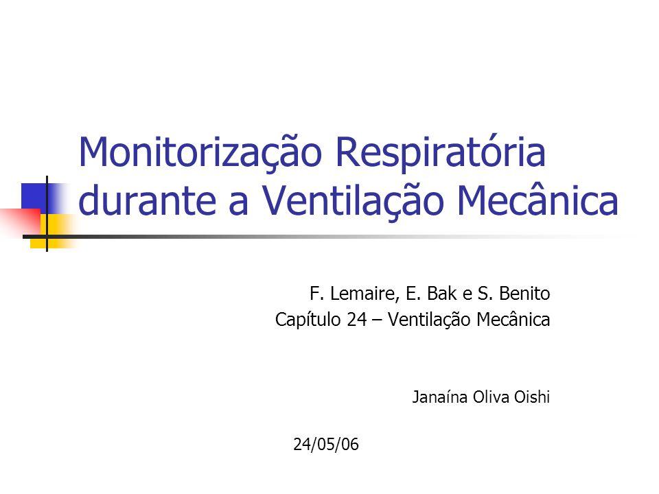 Monitorização Respiratória durante a Ventilação Mecânica F. Lemaire, E. Bak e S. Benito Capítulo 24 – Ventilação Mecânica Janaína Oliva Oishi 24/05/06