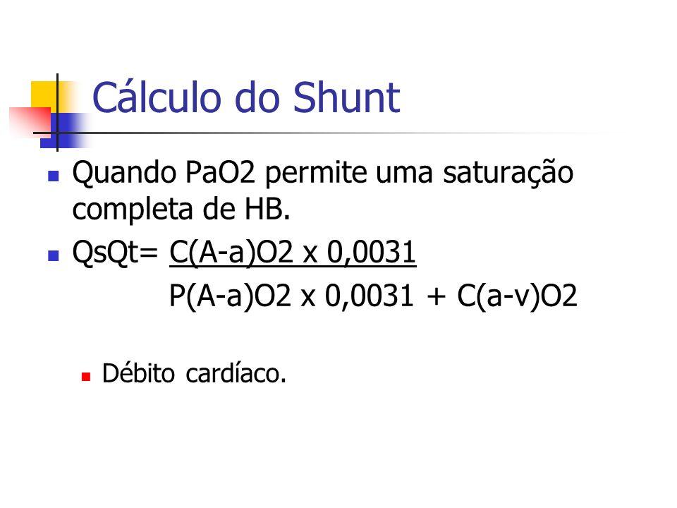 Cálculo do Shunt Quando PaO2 permite uma saturação completa de HB. QsQt= C(A-a)O2 x 0,0031 P(A-a)O2 x 0,0031 + C(a-v)O2 Débito cardíaco.