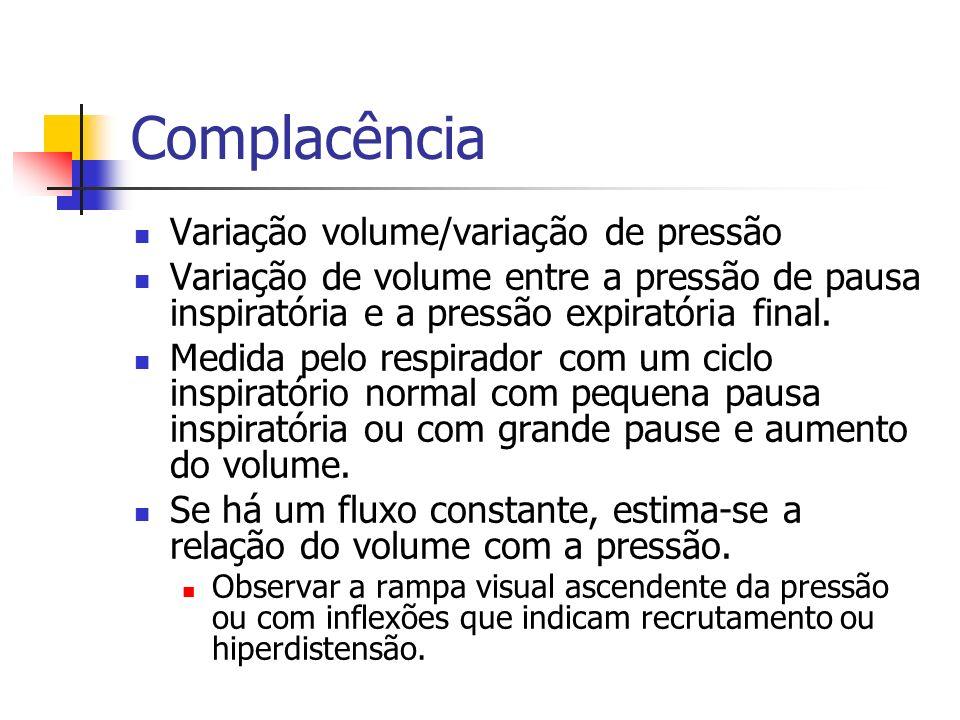 Complacência Variação volume/variação de pressão Variação de volume entre a pressão de pausa inspiratória e a pressão expiratória final. Medida pelo r