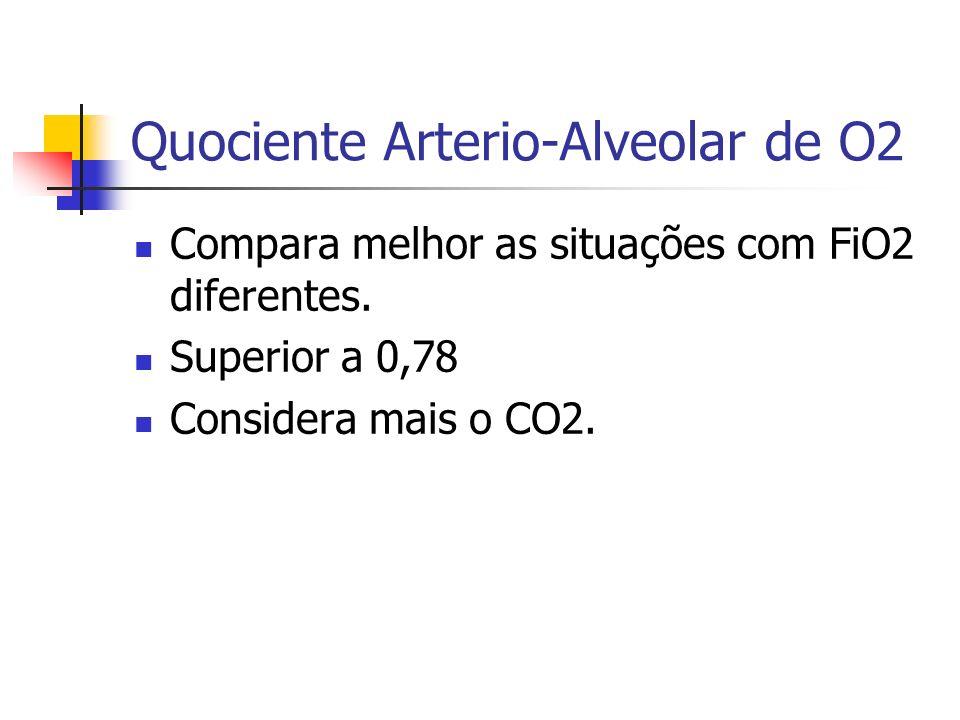 Quociente Arterio-Alveolar de O2 Compara melhor as situações com FiO2 diferentes. Superior a 0,78 Considera mais o CO2.