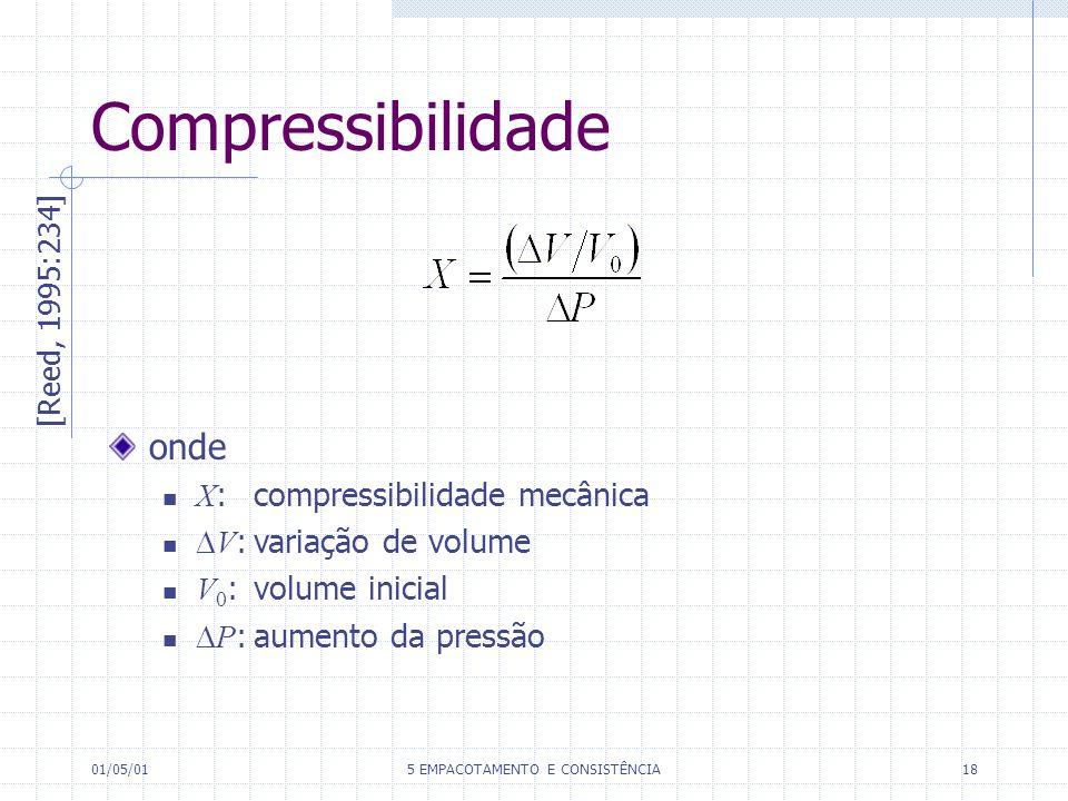01/05/015 EMPACOTAMENTO E CONSISTÊNCIA18 [Reed, 1995:234] onde X : compressibilidade mecânica V :variação de volume V 0 : volume inicial P :aumento da pressão Compressibilidade