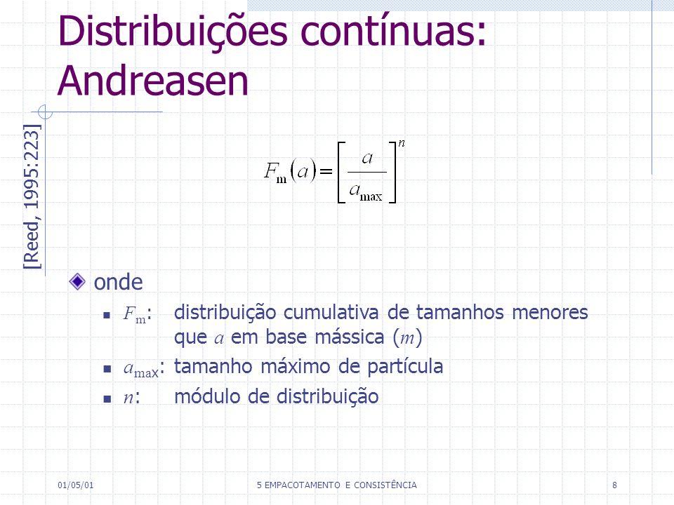 01/05/015 EMPACOTAMENTO E CONSISTÊNCIA8 Distribuições contínuas: Andreasen [Reed, 1995:223] onde F m : distribuição cumulativa de tamanhos menores que a em base mássica ( m ) a ma x :tamanho máximo de partícula n :módulo de distribuição