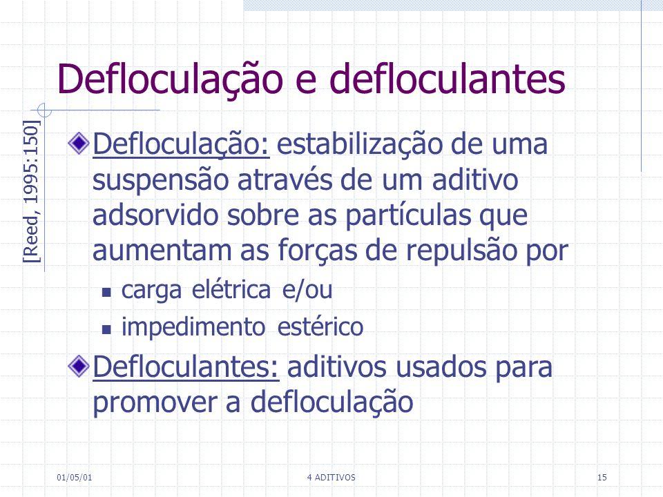 01/05/014 ADITIVOS15 Defloculação e defloculantes [Reed, 1995:150] Defloculação: estabilização de uma suspensão através de um aditivo adsorvido sobre