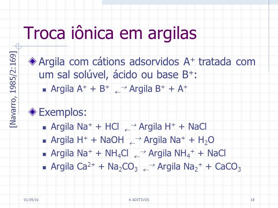 01/05/014 ADITIVOS18 Troca iônica em argilas [Navarro, 1985/2:169] Argila com cátions adsorvidos A + tratada com um sal solúvel, ácido ou base B + : A