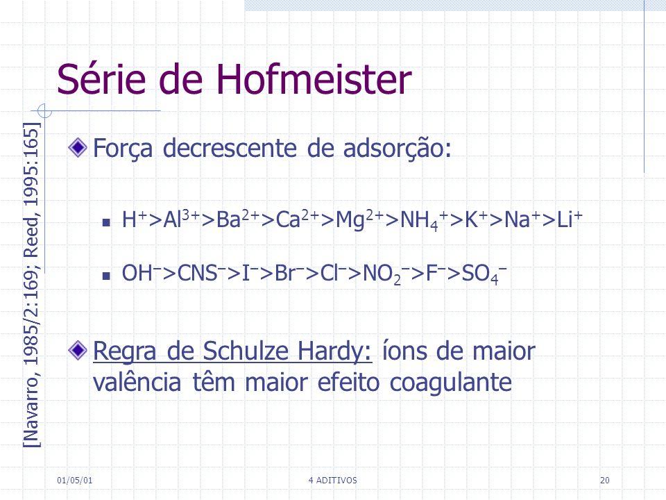 01/05/014 ADITIVOS20 Série de Hofmeister [Navarro, 1985/2:169; Reed, 1995:165] Força decrescente de adsorção: H + >Al 3+ >Ba 2+ >Ca 2+ >Mg 2+ >NH 4 +