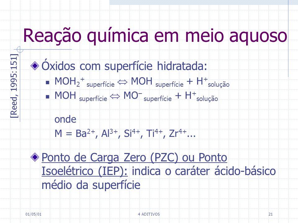 01/05/014 ADITIVOS21 Reação química em meio aquoso [Reed, 1995:151] Óxidos com superfície hidratada: MOH 2 + superfície MOH superfície + H + solução M