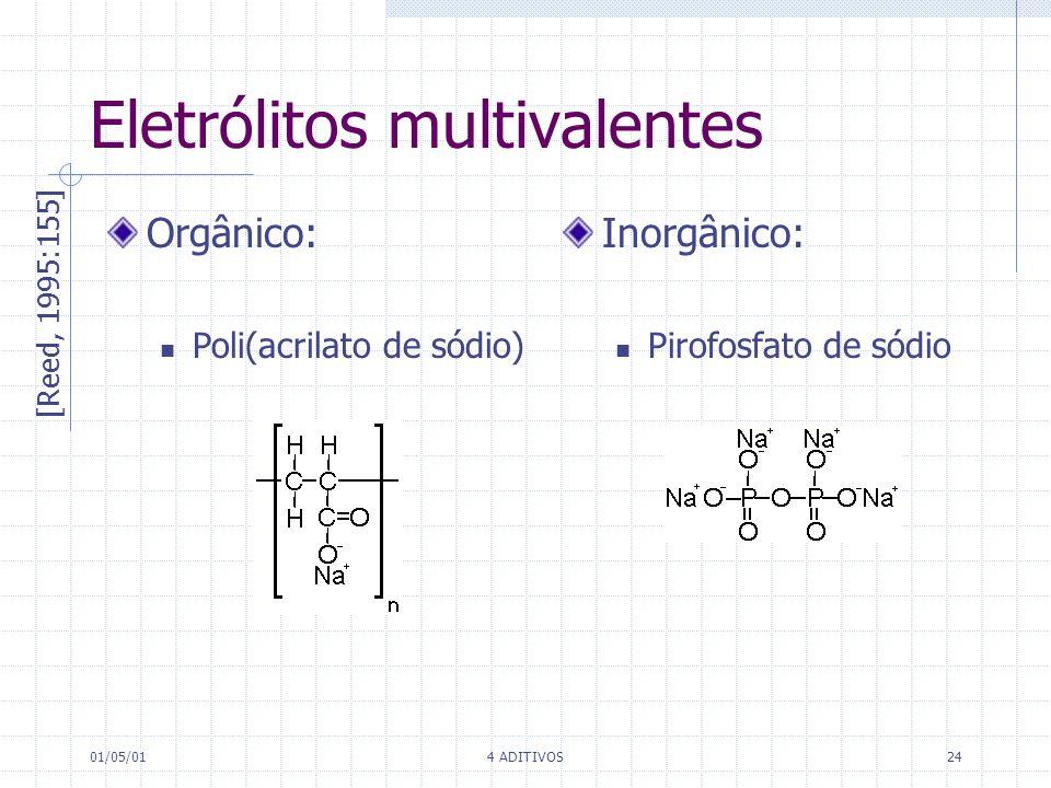 01/05/014 ADITIVOS24 Eletrólitos multivalentes [Reed, 1995:155] Orgânico: Poli(acrilato de sódio) Inorgânico: Pirofosfato de sódio