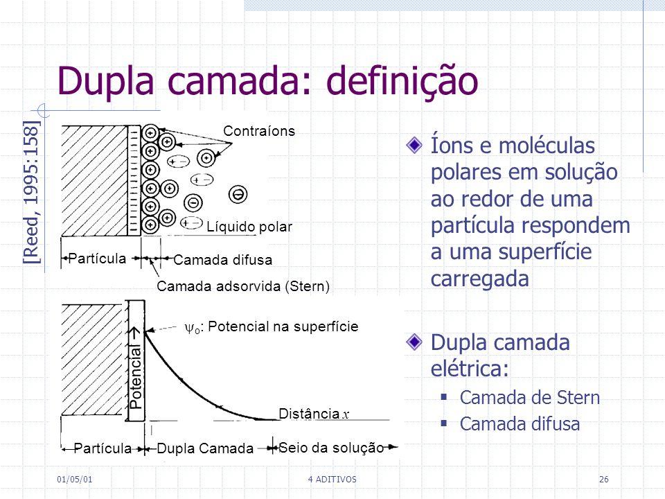 01/05/014 ADITIVOS26 Dupla camada: definição Contraíons Líquido polar Partícula Camada adsorvida (Stern) Camada difusa Dupla Camada Seio da solução Po