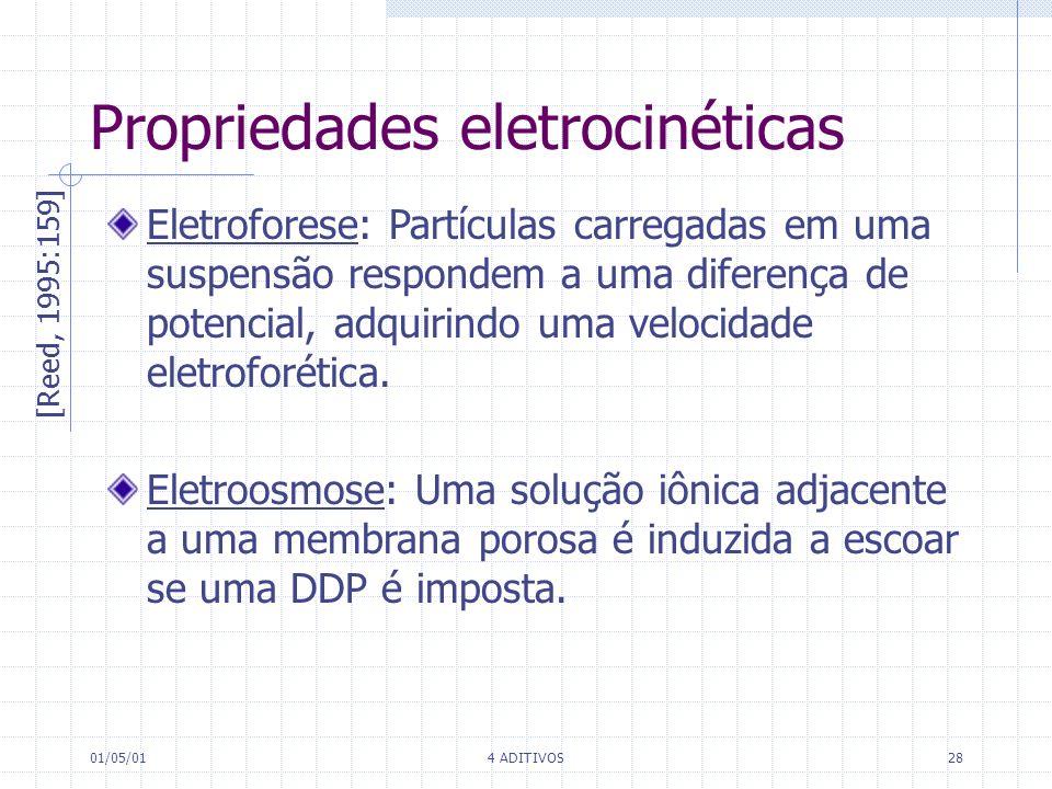 01/05/014 ADITIVOS28 Propriedades eletrocinéticas [Reed, 1995:159] Eletroforese: Partículas carregadas em uma suspensão respondem a uma diferença de p