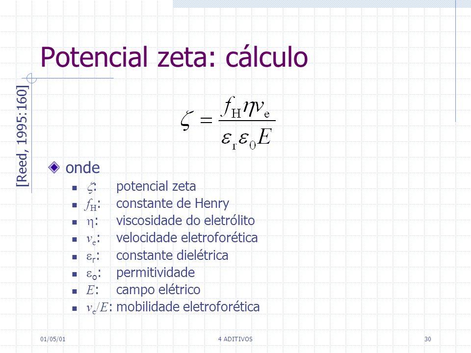 01/05/014 ADITIVOS30 onde :potencial zeta f H : constante de Henry : viscosidade do eletrólito v e :velocidade eletroforética r : constante dielétrica