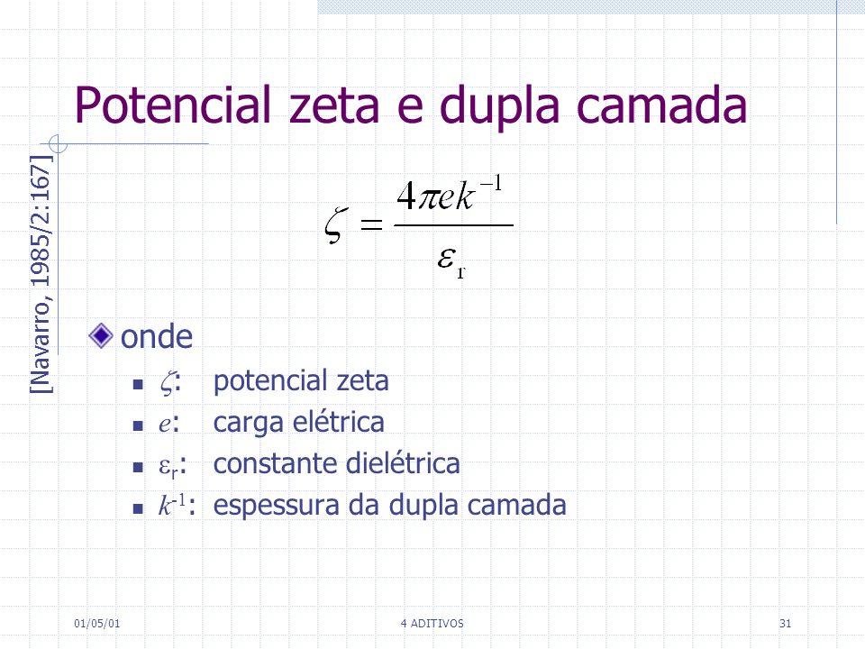 01/05/014 ADITIVOS31 onde :potencial zeta e :carga elétrica r : constante dielétrica k -1 :espessura da dupla camada [Navarro, 1985/2:167] Potencial z