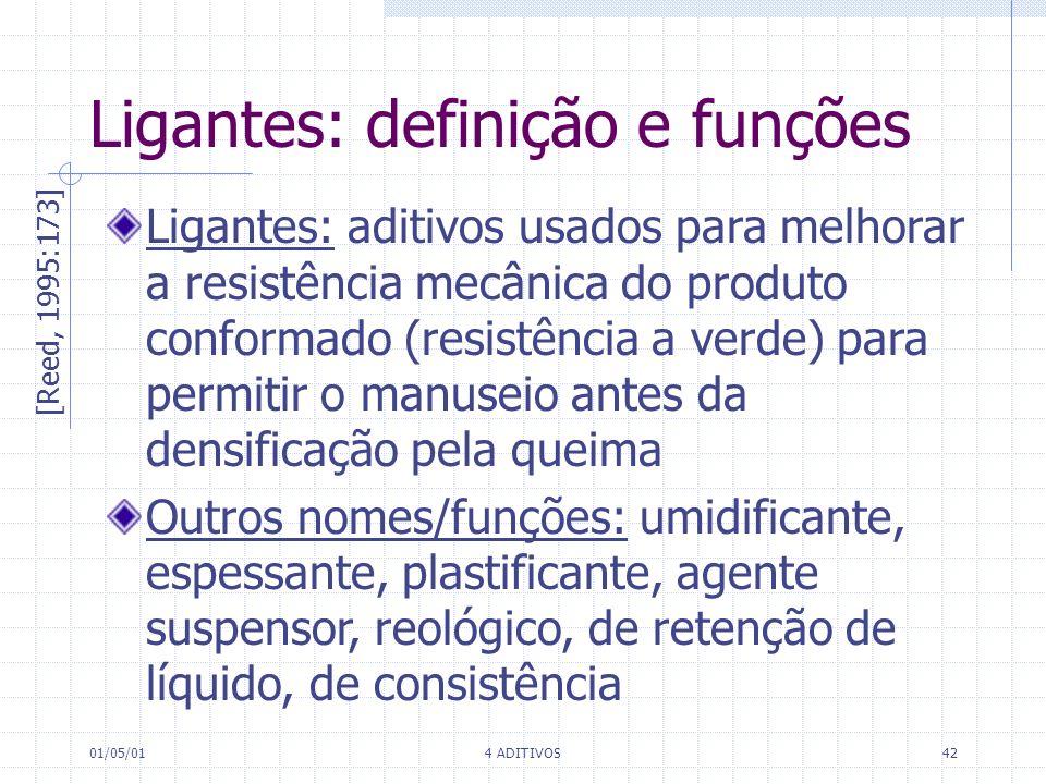 01/05/014 ADITIVOS42 Ligantes: definição e funções [Reed, 1995:173] Ligantes: aditivos usados para melhorar a resistência mecânica do produto conforma
