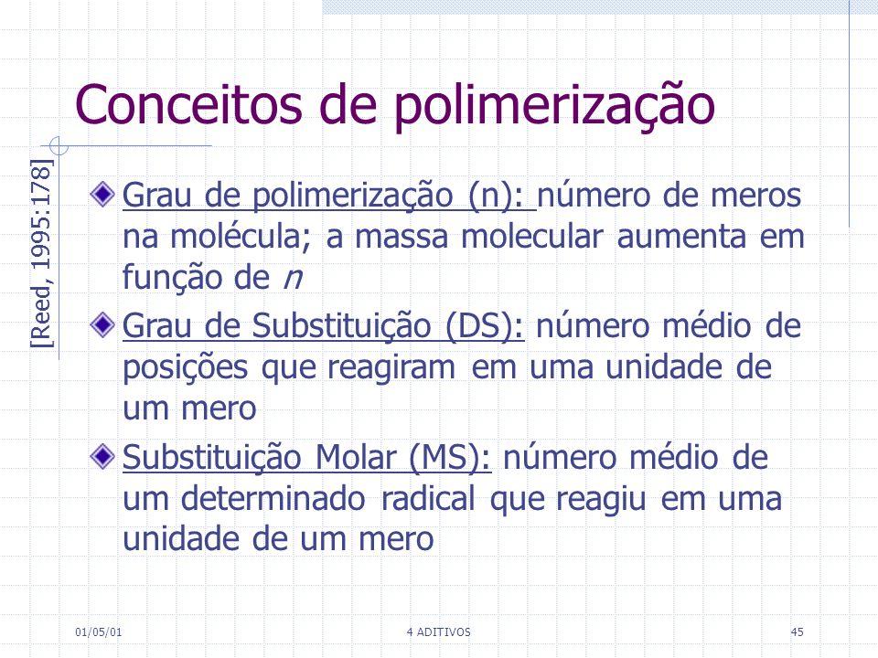 01/05/014 ADITIVOS45 Conceitos de polimerização Grau de polimerização (n): número de meros na molécula; a massa molecular aumenta em função de n Grau