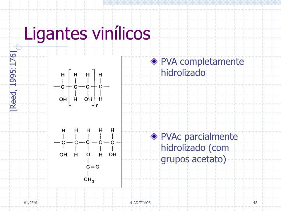 01/05/014 ADITIVOS48 Ligantes vinílicos [Reed, 1995:176] PVA completamente hidrolizado PVAc parcialmente hidrolizado (com grupos acetato)