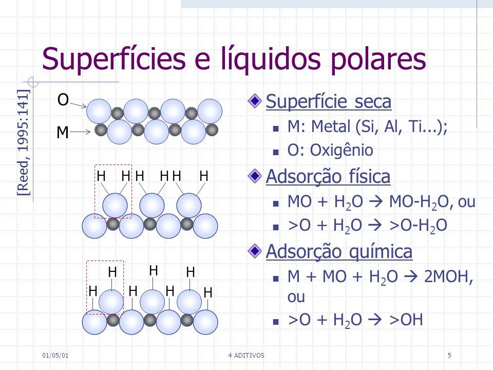 01/05/014 ADITIVOS5 Superfícies e líquidos polares O M [Reed, 1995:141] HHHHHH H H H H H H H Superfície seca M: Metal (Si, Al, Ti...); O: Oxigênio Ads