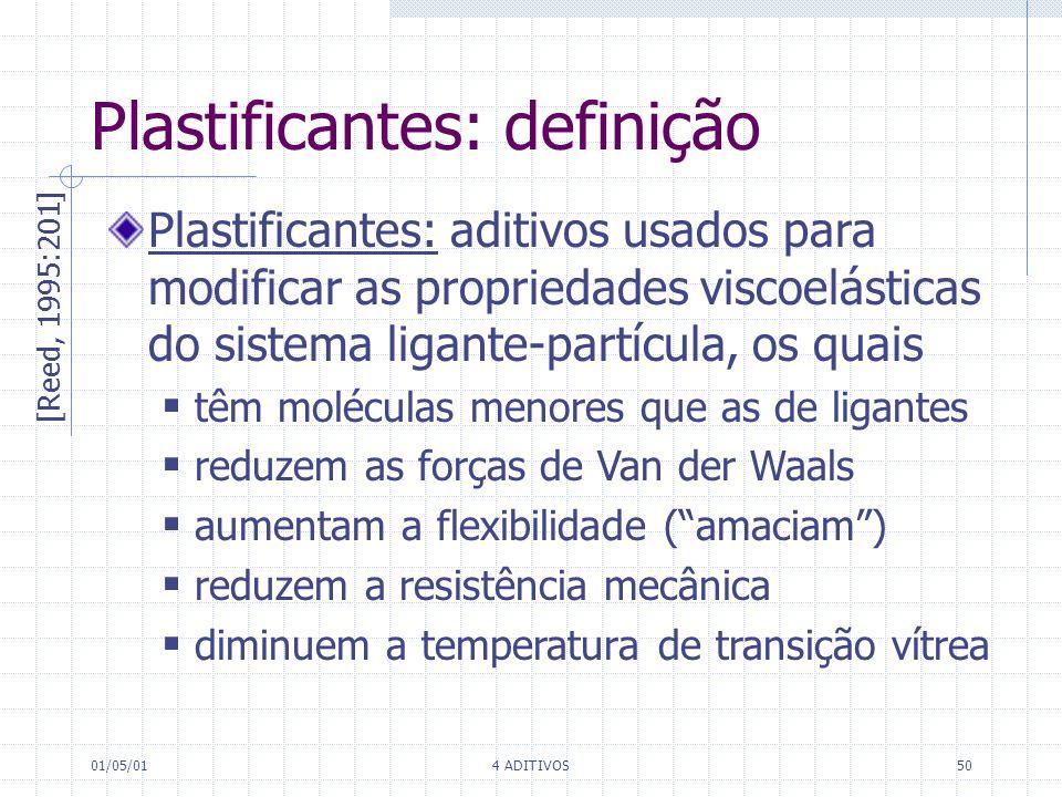 01/05/014 ADITIVOS50 Plastificantes: definição [Reed, 1995:201] Plastificantes: aditivos usados para modificar as propriedades viscoelásticas do siste