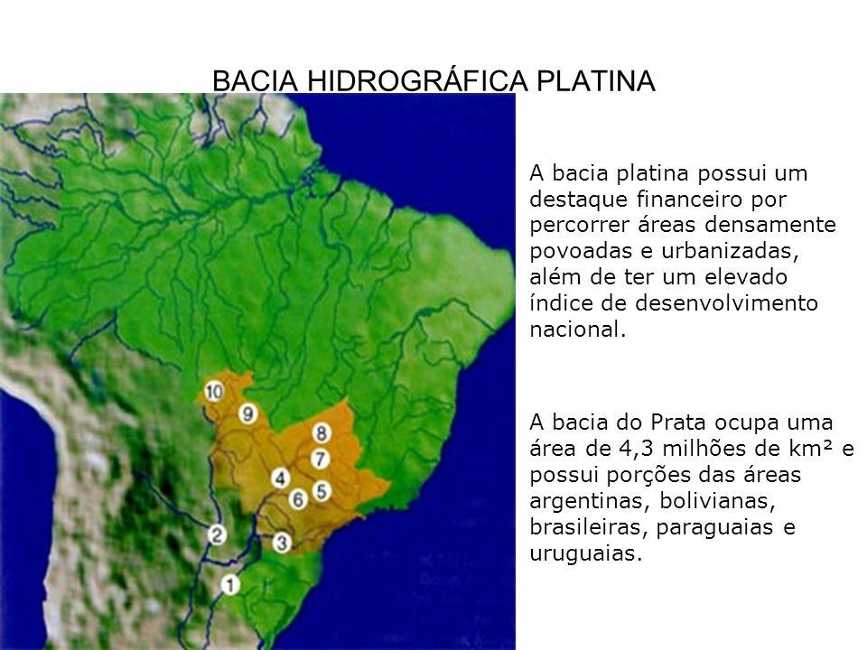 BACIA HIDROGRÁFICA PLATINA A bacia platina possui um destaque financeiro por percorrer áreas densamente povoadas e urbanizadas, além de ter um elevado