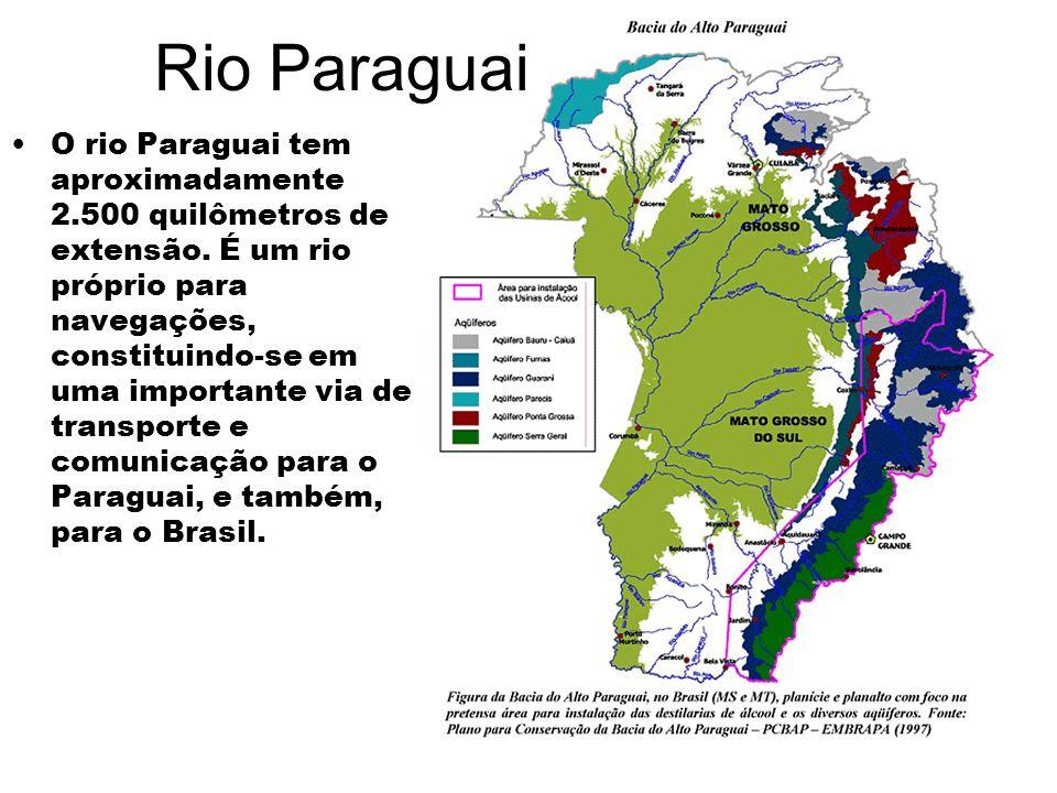 Rio Paraguai O rio Paraguai tem aproximadamente 2.500 quilômetros de extensão. É um rio próprio para navegações, constituindo-se em uma importante via