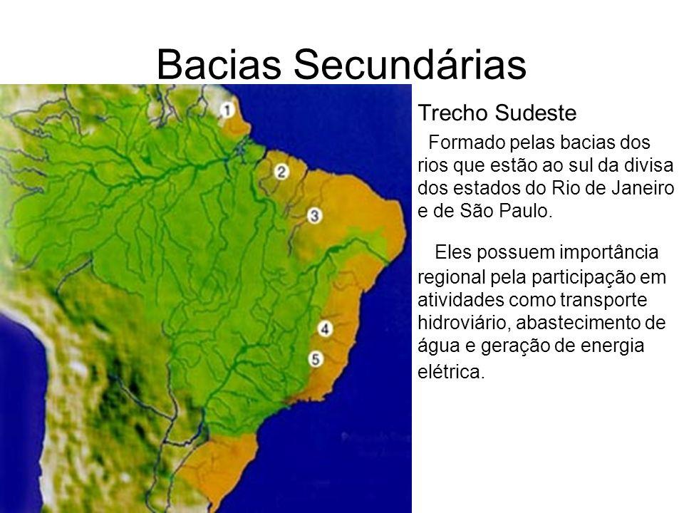 Bacias Secundárias Trecho Sudeste Formado pelas bacias dos rios que estão ao sul da divisa dos estados do Rio de Janeiro e de São Paulo. Eles possuem